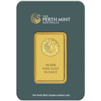 10 oz Perth Mint Gold Bar Obverse