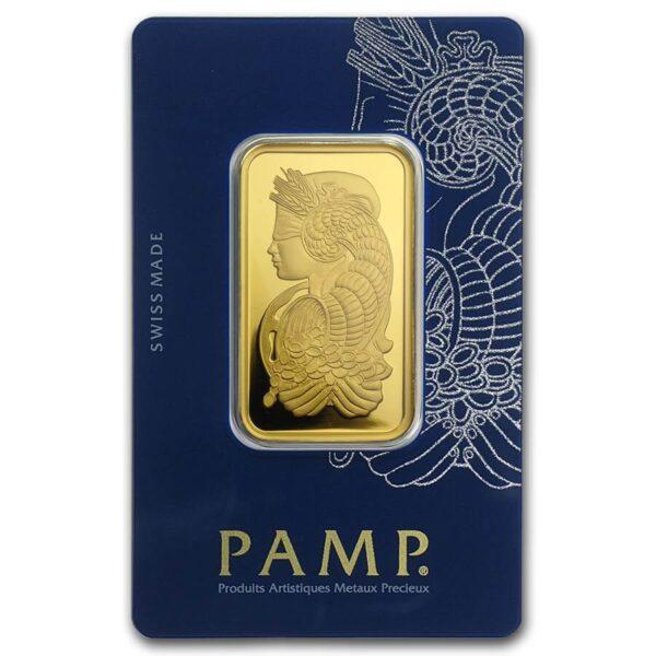 1 oz PAMP Suisse Gold Bar Fortuna Obverse