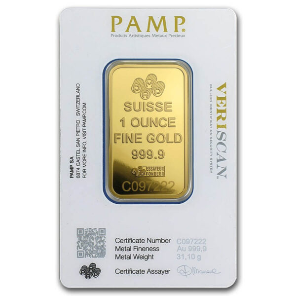 1 oz PAMP Suisse Gold Bar Fortuna Reverse