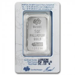 1 oz PAMP Suisse Palladium Bar Fortuna Reverse