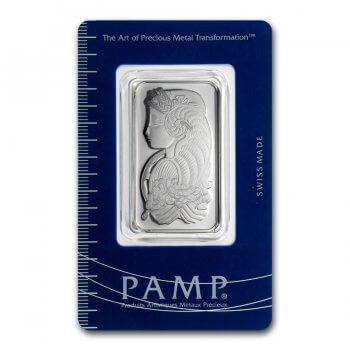1 oz PAMP Suisse Platinum Bar Fortuna Obverse
