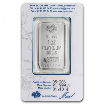1 oz PAMP Suisse Platinum Bar Fortuna Reverse