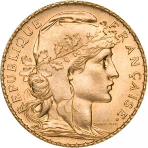 French 20 Franc Gold Rooster Obverse
