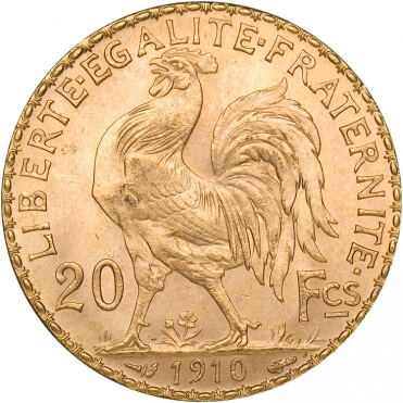 French 20 Franc Gold Rooster Reverse