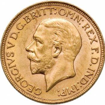 Gold British Sovereign Coin Obverse