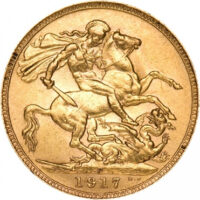 Gold British Sovereign Coin Reverse