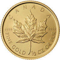 1/2 oz Canadian Gold Maple Leaf Reverse
