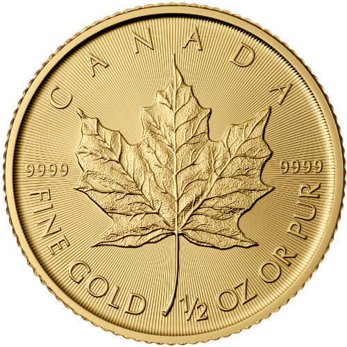 1/2 oz Canadian Gold Maple Leaf Reverse