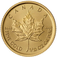 1/10 oz Canadian Gold Maple Leaf Reverse