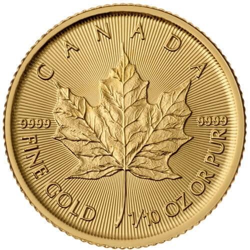 1/10 oz Canadian Gold Maple Leaf Reverse