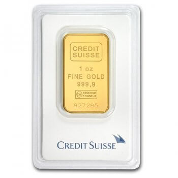 1 oz Credit Suisse Gold Bar Obverse