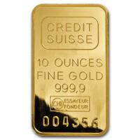 10 oz Credit Suisse Gold Bar Obverse