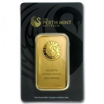 100 Gram Perth Mint Gold Bar Obverse