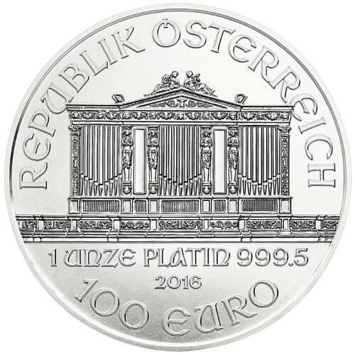 1 oz Austrian Platinum Philharmonic Reverse
