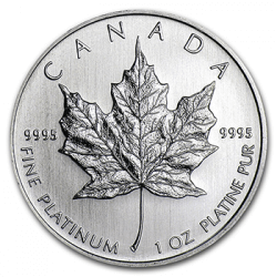 1 oz Canadian Platinum Maple Reverse