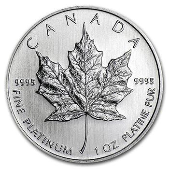1 oz Canadian Platinum Maple Reverse
